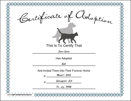 Printable Dog Adoption Certificate - Bresaniel™ Consulting Ltd ...