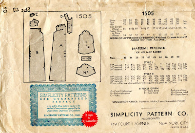 McCall intimate sewing pattern las nightgown 20s 3370 s36 b36