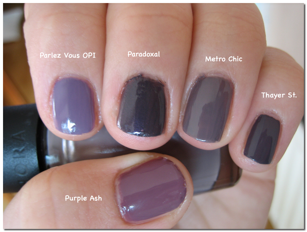 Purple Ash Is The Most Red Toned In This Group And Almost A Warm Plummy Colour When Compared To Paradoxal Parlez Vous Opi Much Lighter