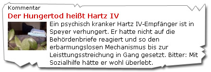 Der Hungertod heißt Hartz IV - Stern