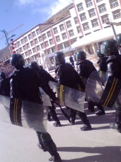 Troops march in Labrang
