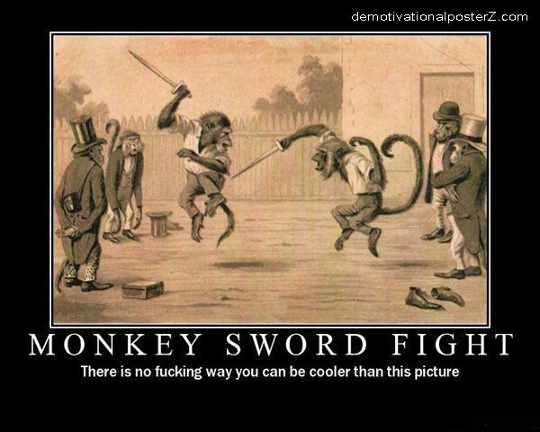 Monkey Sword Fight Poster