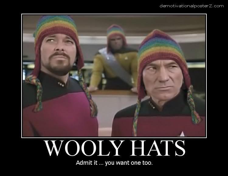 Wooly hats - Star Trek - Picard, Worf, Riker