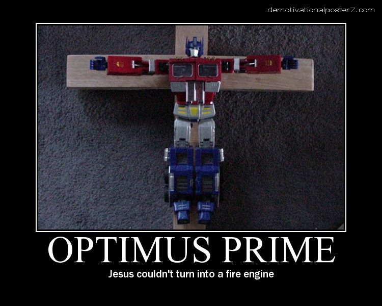optimus prime on a cross