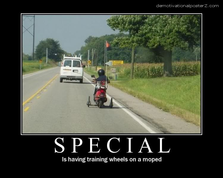 SPECIAL - IS HAVING TRAINING WHEELS ON A MOPED