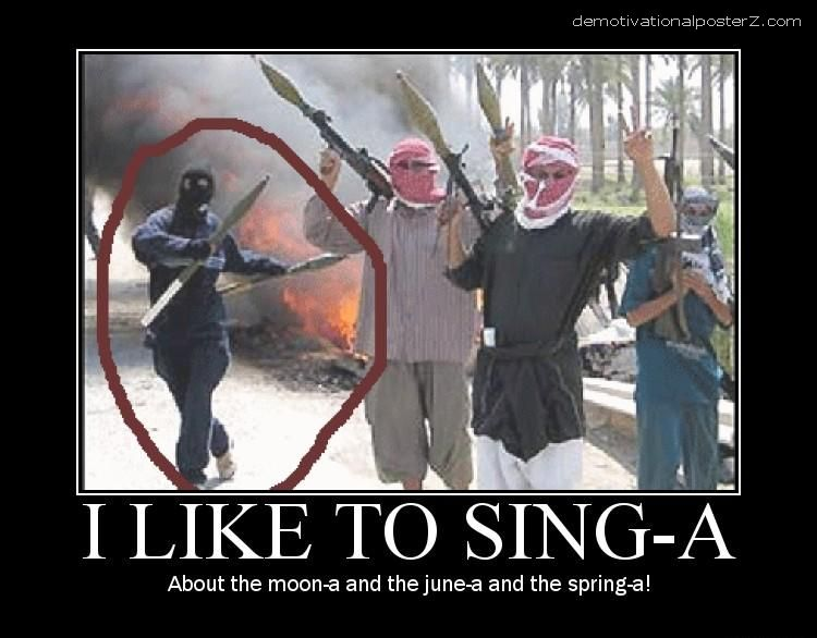 i like to singa happy terrorists dancing