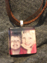 Glass Tile Pendent with Ribbon Necklace