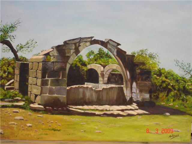 """Fuente """"La Conceja"""". Pintura al oleo realizada por Juan Antonio Antúnez Morán"""