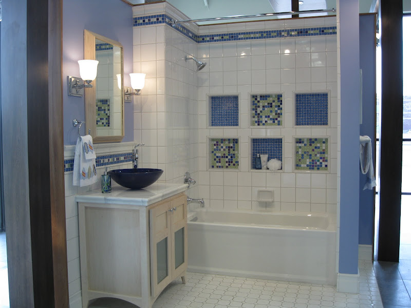 The blue glass sink highlights the dark blue color in the Opal Sky Mix  title=