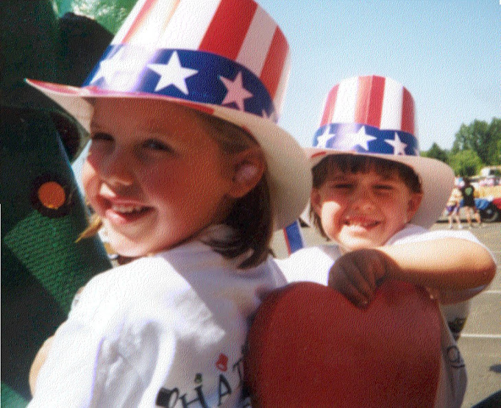 Riding on Rosabelle in the Central Point Parade -July 4, 1996