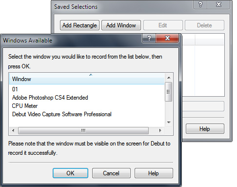 Set a selection area for video screen recording in Debut