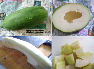 green papaya peeled and cut