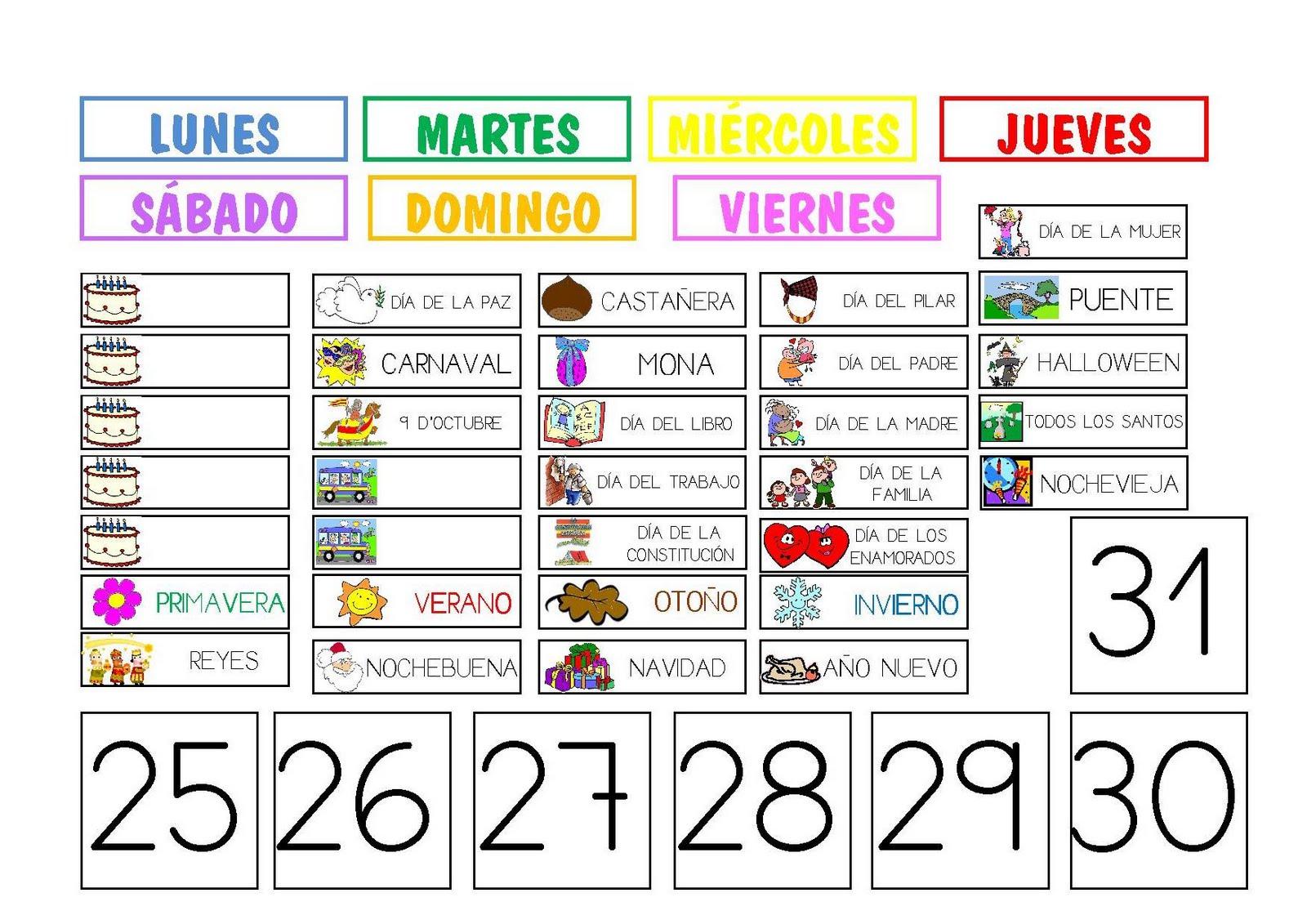 Un Calendario Para La Clase De Espanol