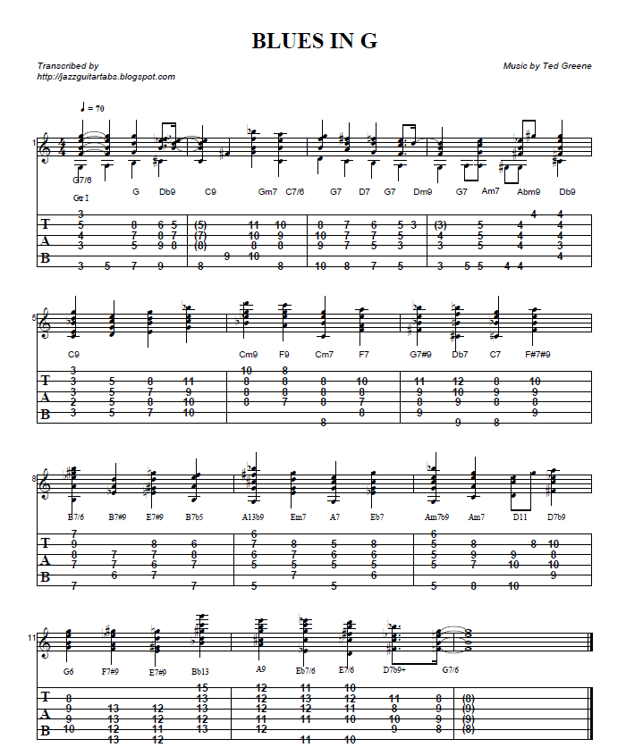 Jazz guitar tabs