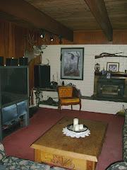 living room with animal head