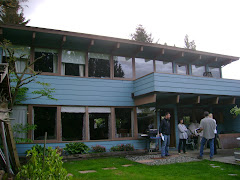 The back of the coveted blue house