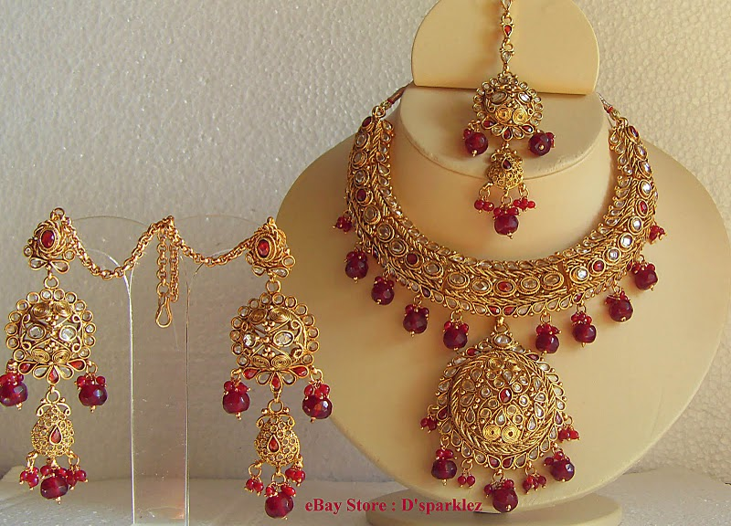 Keysha Accessories Gold Formed Indian Royal Bridal Gorgeous Red Polki Set