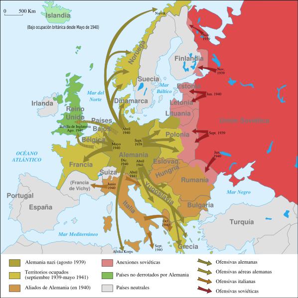 la Historia: Mapas de Europa antes, durante y después de la II G.M