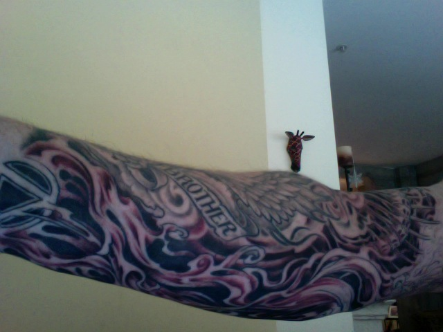 New work on my right arm sleeve tattoo for Brother John