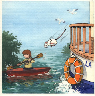 Ilustración cuento infantil del río Guadalquivir en Sevilla, hecha por ªRU-MOR