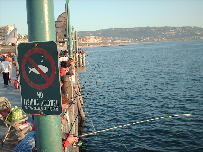 No Fishing Allowed *Picture taken at the Pier when we were in L.A. visiting Curtis's mission turf:)