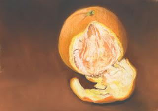 peeled orange daily pastel painting