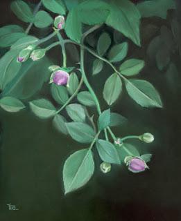 wild roses pastel painting