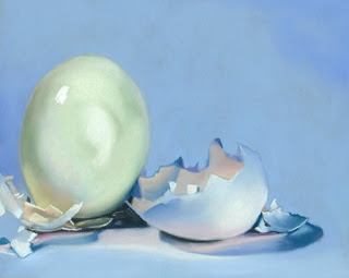 hard boiled egg still life daily pastel painting