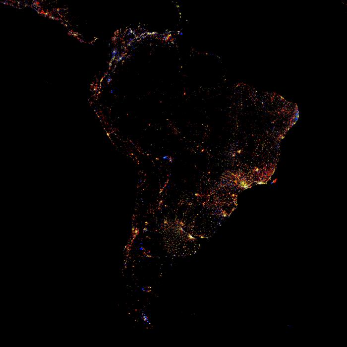 A luz emitida na Terra vista do Espaço