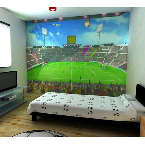 Boy bedroom design with soccer themehome designs for Soccer bedroom designs