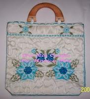 Blue Embroidery Handbag
