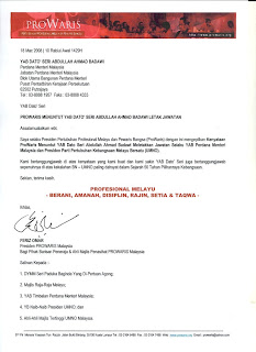 Letter from PROWARIS to Pak Lah
