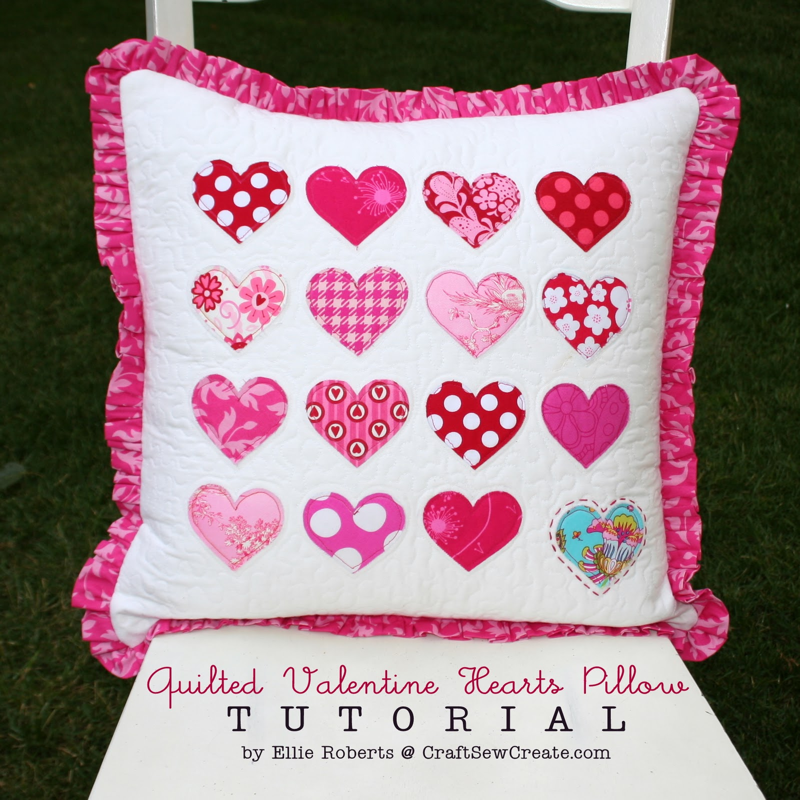 Cute Pillow Crafts : Craft Sew Create: Quilted Valentine Hearts Pillow Tutorial