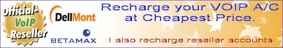 Recharge your VOIP A/C,Quick n Easy at Cheapest Price