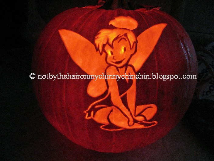 Not by the hair on my chinny chin chin Pumpkin Carving 201 – Tinkerbell Pumpkin Template
