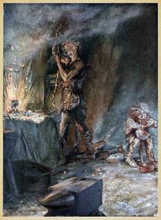 Dessin, Arthur Rackham, 1911, diable, potion, nain, laid