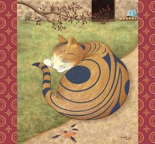 chat, dormant, roux, rayure, noir, arbre, japonais, dessin