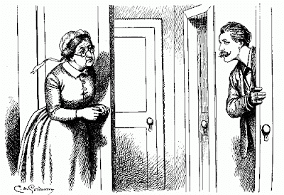 C de Grimm, femme, porte, dessin, noir et blanc, XIXe siècle