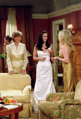 wedding dress worn by monica in sitcom friends, a line wedding dress