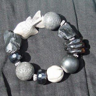 onyx and lava stone bracelet