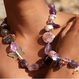 Purple Amethyst, Swarovski Crystal and Silver Necklace and Bracelet