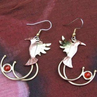 copper jah bird earrings