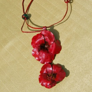 red leather hibiscus necklace