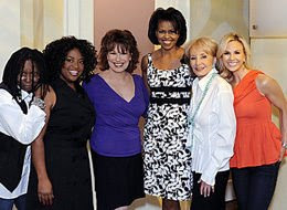 Michelle Obama wears Donna Ricco's Sleeveless Banded Waist Short Dress