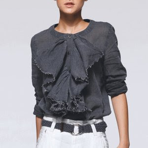 Jabot styl ruffled shirt, ruffled top