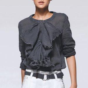Jabot styl ruffled shirt, ruffled top