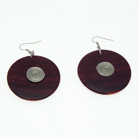 round wooden earrings, unique jewellery gifts, handmade jewellery
