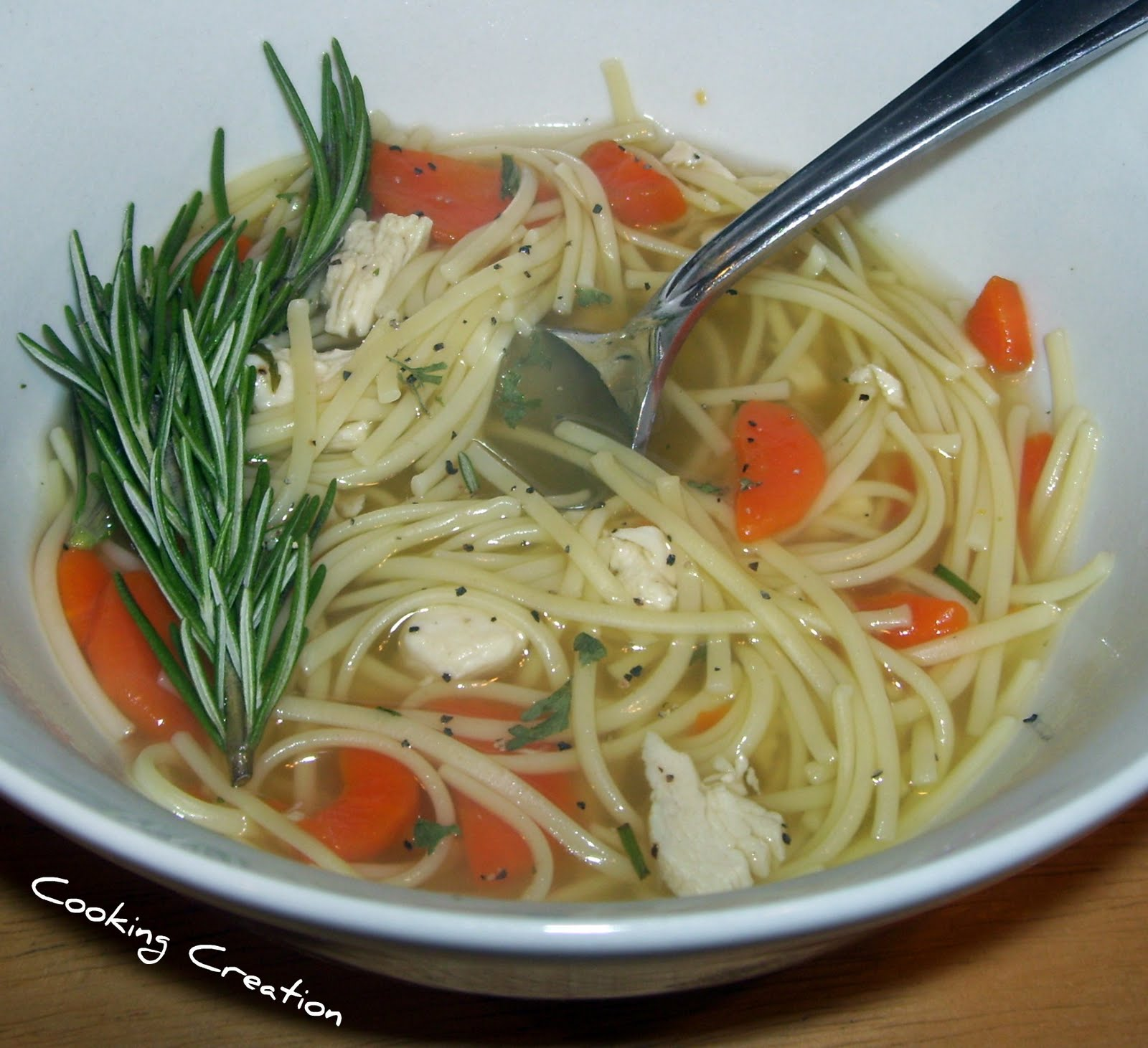 Rosemary Double Noodle Chicken Soup