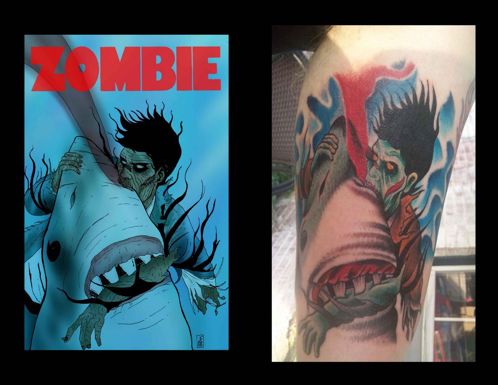 The Art of Jason Flowers: ZOMBIE TATTOO... Zombie Shark Tattoo