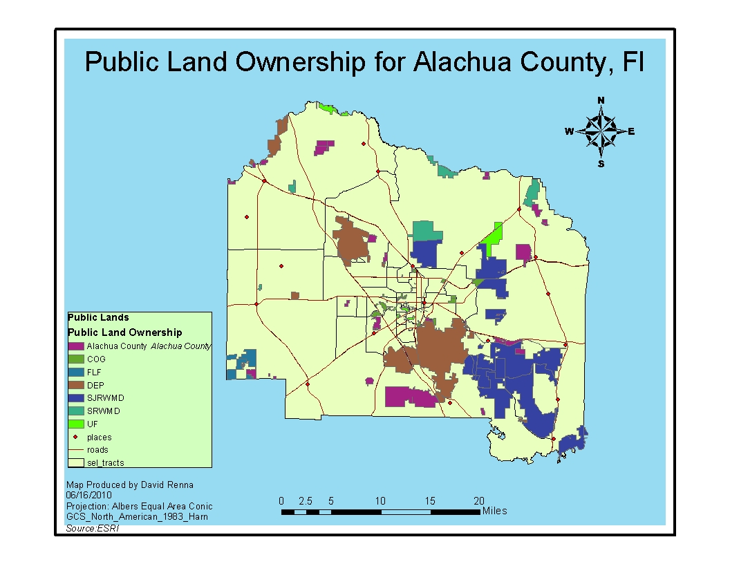 this is the basemap for alachua county florida it details the different public land areas and ownership of those areas